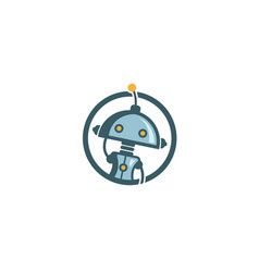 creative cute robot circle logo vector image