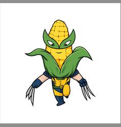 cute corn hero kids hero design vegetables vector image