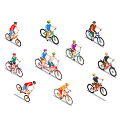 cyclists isometric icons set vector image