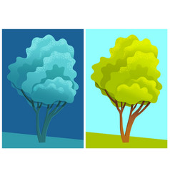 deciduous tree with lush crown on background of vector image