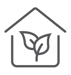 eco house line icon real estate and home ecology vector image