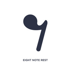Eight note rest icon on white background simple vector