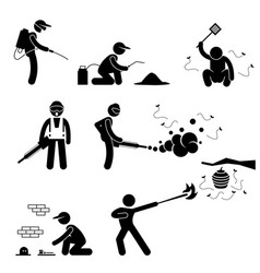 Exterminator pest control stick figure pictograph vector