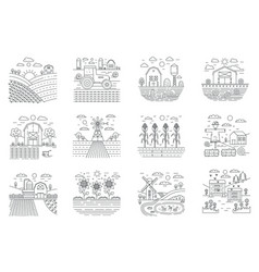 Farm and farming agriculture fields concept line vector