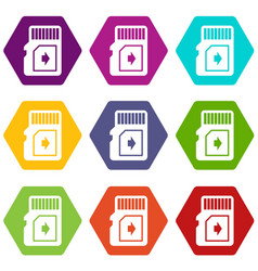 Flash drive icons set 9 vector