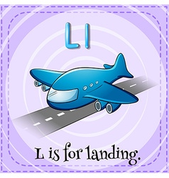 Flashcard letter l is for landing vector
