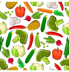 Fresh vegetables vegetarian seamless background vector image