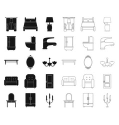Furniture and interior blackoutline icons in set vector