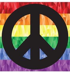 Gay peace sign on rainbow flag vector