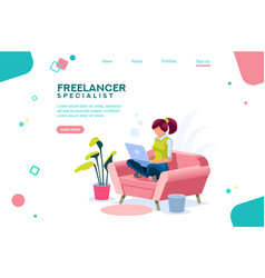 Girl sitting on sofa isometric vector