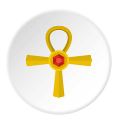 Golden ankh symbol icon circle vector