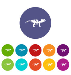 Hadrosaurid dinosaur icons set flat vector