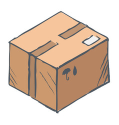 Hand drawn box with purchase delivering parcel vector
