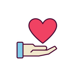hand with red heart creative icon vector image