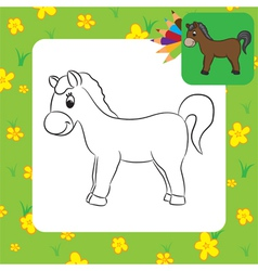 horse coloring page vector image
