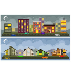 landscape and cityscape vector image
