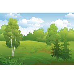 Landscape green summer forest vector