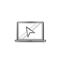laptop with cursor hand drawn outline doodle icon vector image