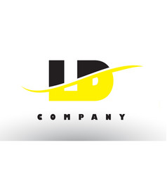 ld l d black and yellow letter logo with swoosh vector image