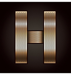 Letter metal gold ribbon - H vector