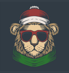 lion head christmas vector image