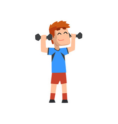 male athlete exercising with dumbbells vector image