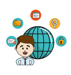 Man with global data information and technology vector