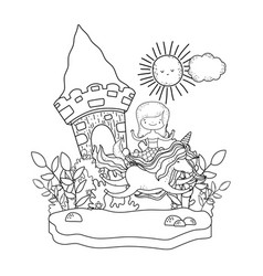 Mermaid with unicorn and castle in the landscape vector