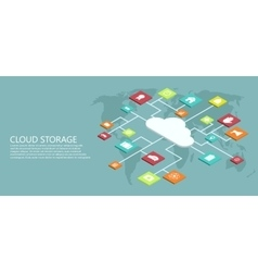 modern flat isometric cloud storage vector image