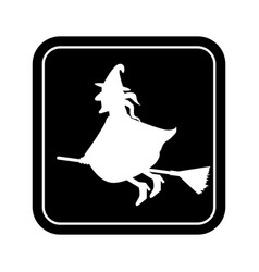 Monochrome square silhouette with witch vector