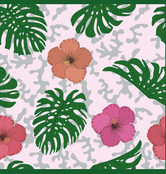 monstera leaves hibiscus seamless pink gray vector image