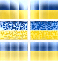 Mosaic Ukraine flag set vector