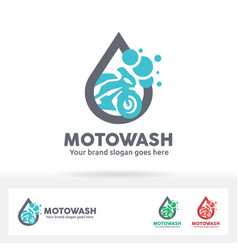 Motorcycle wash logo bike care service brand vector