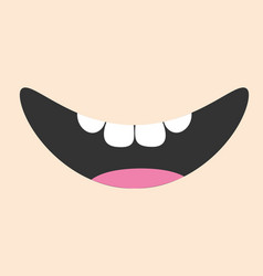 mouth with tongue and healthy tooth smiling face vector image