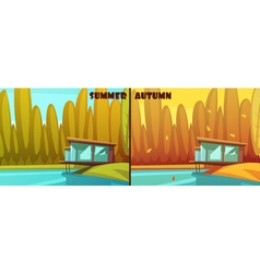 Nature Summer Autumn Retro Cartoon Set vector