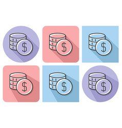 outlined icon of coins stack with parallel vector image
