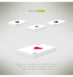 Playing cards deck with ace on top in realistic vector image