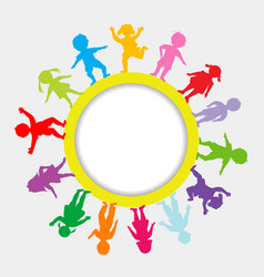 round frame with doodle children vector image