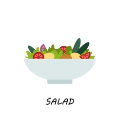 Salad in bowl on white background vector