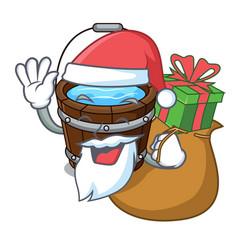 Santa with gift wooden bucket mascot cartoon vector