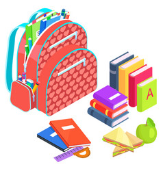 Satchel with books and notebooks apple and snack vector