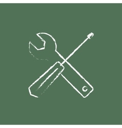 Screwdriver and wrench tools icon drawn in chalk vector image
