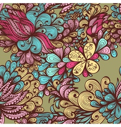 Seamless bright hand drawn floral pattern vector image