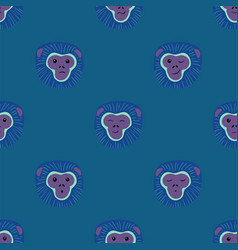 seamless pattern with gibbon monkey faces vector image
