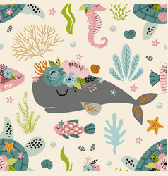 seamless pattern with turtle sperm whalesea hors vector image