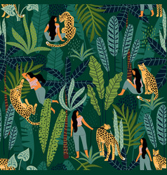 seamless pattern with women leopards vector image