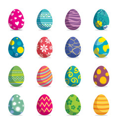 set easter eggs isolated background modern vector image