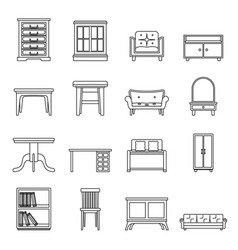 set flat black line office and house furniture vector image