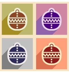 Set flat icons with long shadow Christmas ball vector