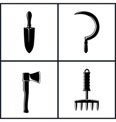 Set garden and landscaping tools icons vector